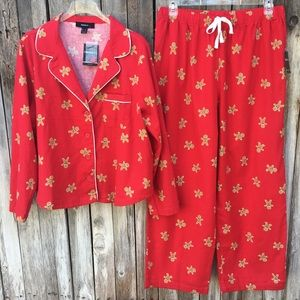 NWT Forever 21 Gingerbread Man Flannel Pajamas Red